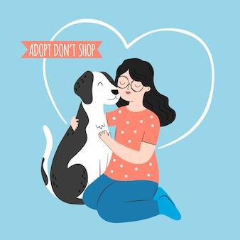 Adote um animal de estimação com a mulher segurando o cachorro