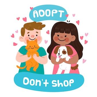 Adote um animal de estimação com gato e cachorro