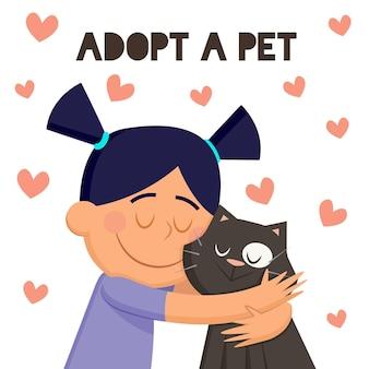 Adote um animal de estimação com menina e gato
