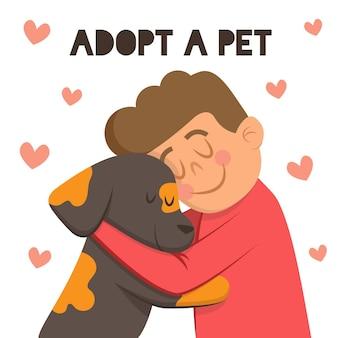 Adote um animal de estimação com menino e cachorro