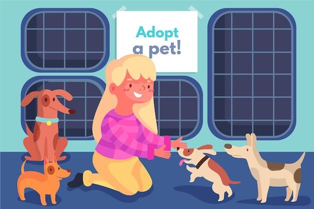Adote um animal de estimação do abrigo vários cães