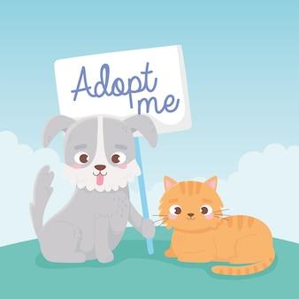 Adote um animal de estimação, um cachorrinho e um gato com ilustração de letras adpot me