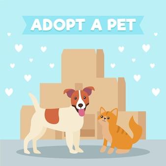 Adote um conceito de animal de estimação com cachorro e gato