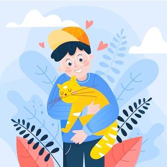 Adote um conceito de animal de estimação com menino e gato