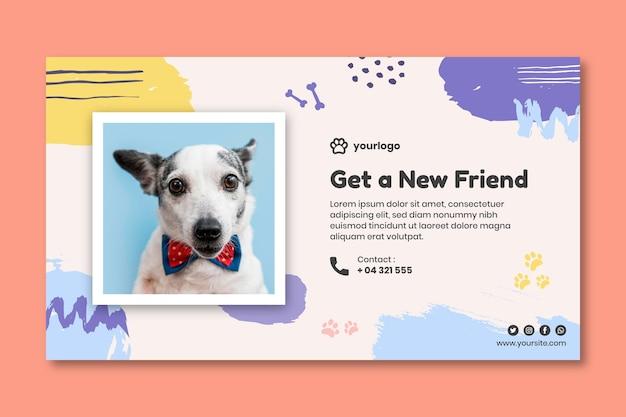 Adote um modelo de banner de animal de estimação com foto de cachorro