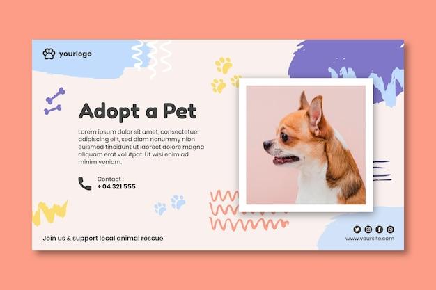 Adote um modelo de banner de animal de estimação com foto