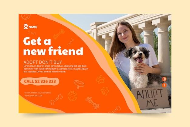 Adote um modelo de banner horizontal de amigo