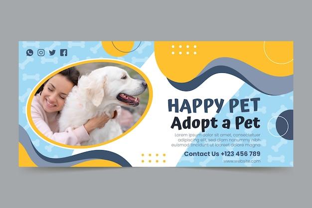 Adote um modelo de banner horizontal para animais de estimação