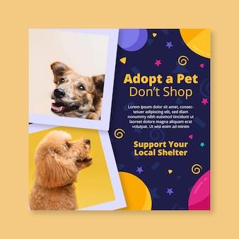 Adote um modelo de folheto quadrado para animais de estimação