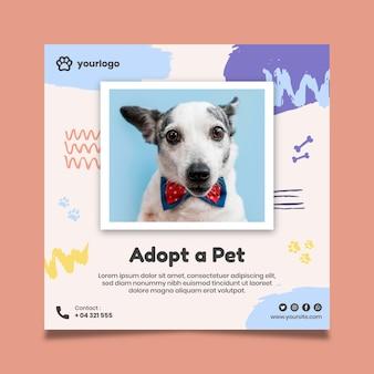 Adote um modelo de folheto quadrado para animal de estimação