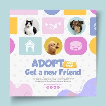 Adote um modelo de folheto quadriculado para animais de estimação