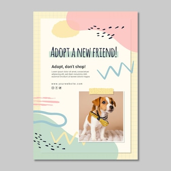 Adote um modelo de folheto vertical de amigo