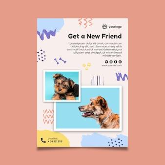 Adote um modelo de folheto vertical para animais de estimação