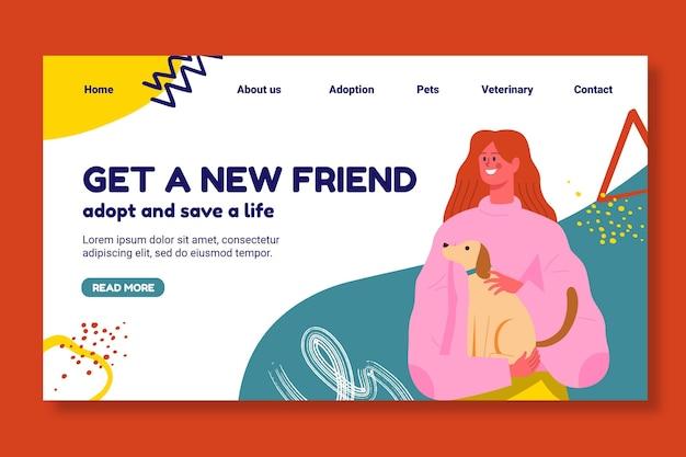 Adote um modelo de página de destino para animais de estimação