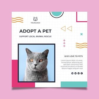 Adote um modelo de panfleto quadrado para animais de estimação