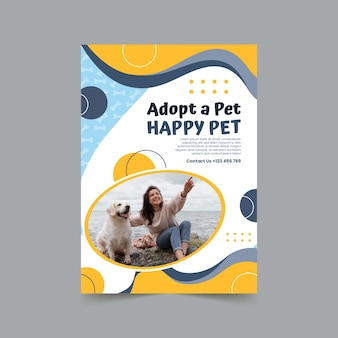 Adote um modelo de pôster vertical para animais de estimação
