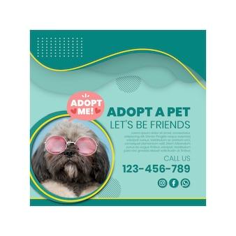 Adote um panfleto quadrado de animal de estimação