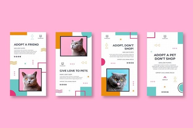 Adote uma coleção de histórias de instagram para animais de estimação