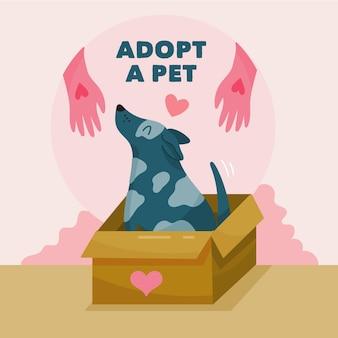 Adote uma ilustração do conceito de animal de estimação com cachorro