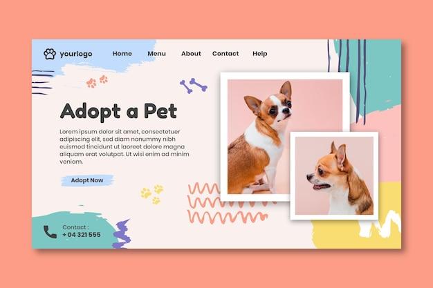 Adote uma página de destino de animal de estimação com foto de cachorro