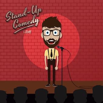 Adulto masculino levantar personagem de desenho animado comediante