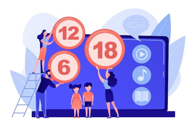 Adultos classificando conteúdo para crianças com sinais de restrição de idade. sistema de classificação de conteúdo, conteúdo de limitação de idade, conceito de classificação de censura