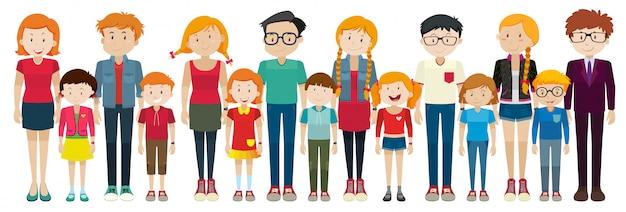 Adultos e crianças em pé