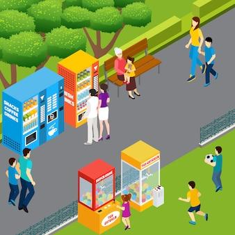 Adultos e crianças usando máquinas de venda automática e coletores de brinquedo andando e brincando na ilustração em vetor isométrica 3d parque