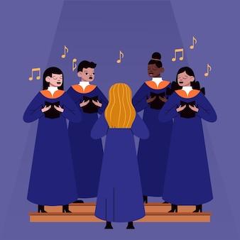 Adultos ilustrados cantando juntos em um coral gospel