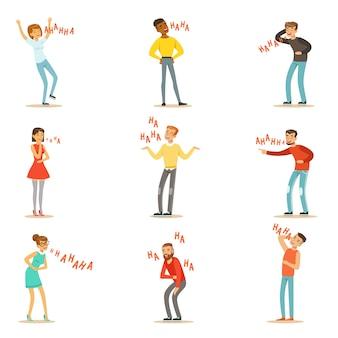 Adultos rindo histericamente alto conjunto de personagens de desenhos animados com riso e risada, escrito no texto