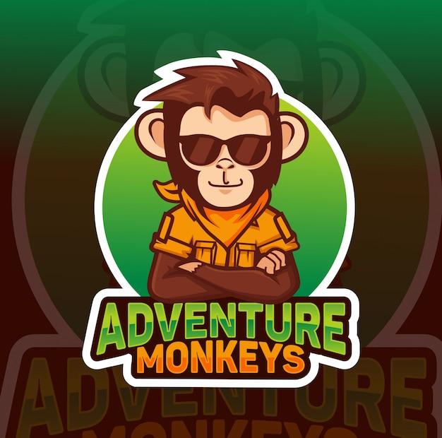 Adventre monkey, mascote legal esport design de logotipo