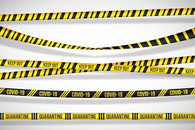 Advertências sobre os perigos das faixas de quarentena Vetor grátis