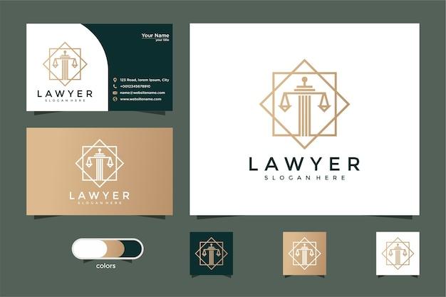Advogado com design de logotipo de estilo de linha e cartão de visita