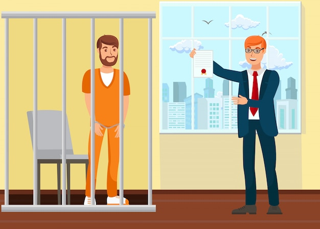 Advogado e prisioneiro no tribunal