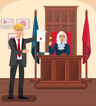 Advogado mostrando provas na ilustração plana de tribunal