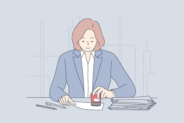 Advogado personagem carimba documentos no escritório