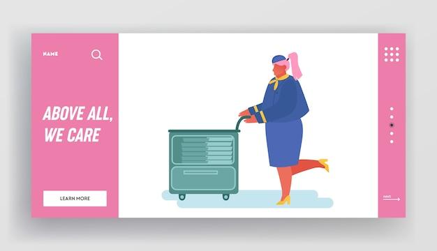 Aeromoça com carrinho de comida na página de destino do site de avião.
