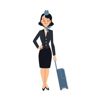 Aeromoça ou aeromoça de uniforme com mala