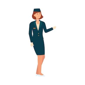 Aeromoça ou piloto mulher de uniforme dá as boas-vindas aos passageiros.