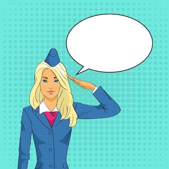 Aeromoça saudando chat bolha pop art estilo retro colorido