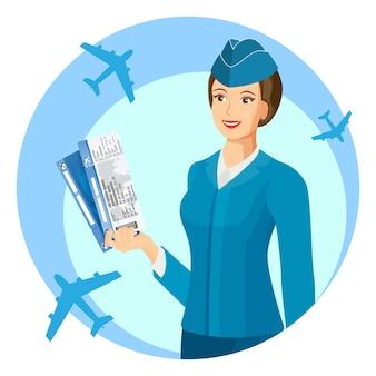 Aeromoça uniformizada azul sorrindo