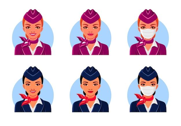 Aeromoças asiáticas e europeias com sorriso e máscara médica. conjunto de avatares da aeromoça.
