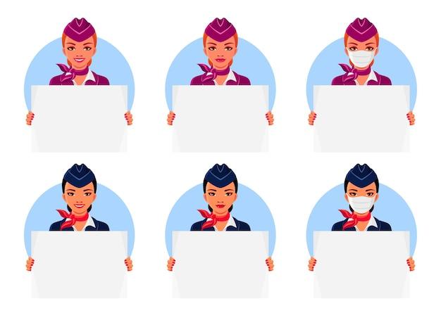 Aeromoças asiáticas e europeias segurando cartazes vazios. aeromoça com sorriso e máscara médica