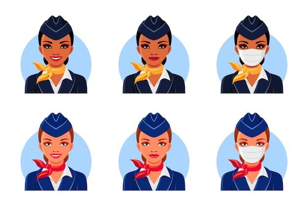 Aeromoças indianas e europeias com sorriso e máscara médica.