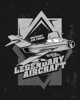Aeronave lendária, ilustração de avião de caça clássico