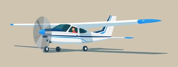 Aeronave monomotor leve com o piloto dentro. vista lateral.