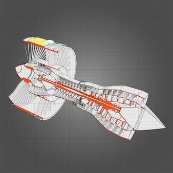 Aeronaves com motor a jato turbo. ilustração em vetor linha.