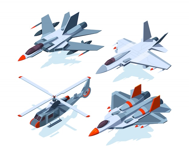 Aeronaves militares isométricas.
