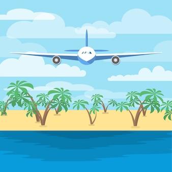Aeronaves voando acima do mar. avião no céu e praia com as palmas das mãos no fundo. voo acima do oceano. ilustração