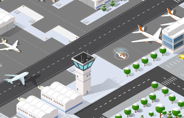 Aeroporto 3d isométrico